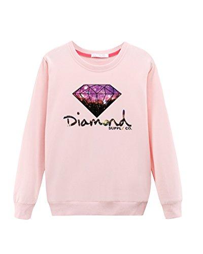 Mujeres Sudaderas De Marca Camiseta Manga Largo De Impreso Tops Blusas T-Shirt Pink