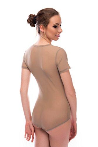 seniora Mujer tul Body de manga corta con cuello redondo marrón claro