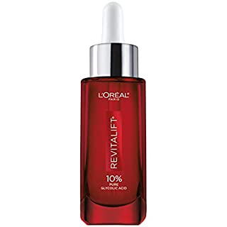 Glycolic Acid Peel Serum for Skin, L'Oreal Paris Revitalift Derm Intensives 10% Pure Glycolic Acid Serum | Dark Spot Corrector, Even Tone, Reduce Wrinkles, Exfoliator With Aloe, Hydrates, 1 Oz
