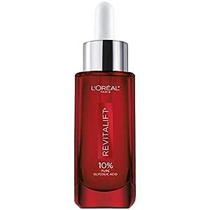 Glycolic Acid Peel Serum for Skin, L'Oreal Paris Revitalift Derm Intensives 10% Pure Glycolic Acid Serum | Dark Spot Corrector, Even Tone, Reduce Wrinkles, Exfoliator With Aloe, Hydrates, 1 Oz