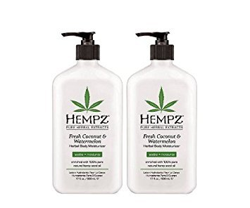 Hempz herbal body moisturizer, pearl white, fresh coconut/watermelon, 17 Ounce,pack of 2 ()