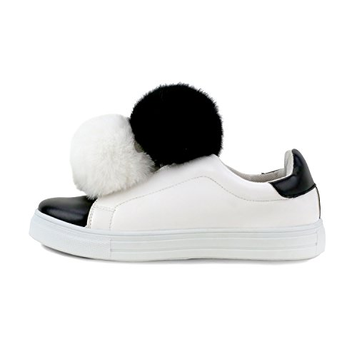 Olivia Miller Baywood Dual Pom Pom Pull On Sneakers Nero
