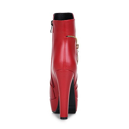 AmoonyFashion Womens Round Closed Toe High Heels Zipper Solid Boots Red PArQM