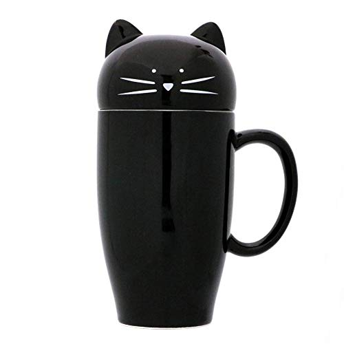 Koolkatkoo Cute Cat Coffee Mug with Lid Gift for Cat Lover Unique Ceramic Cup Porcelain Tea Mugs for Girls Women 15 oz Black