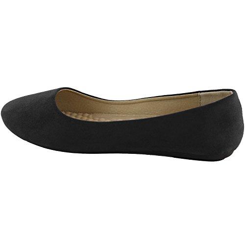 Dameslaarzen Damesschoenen Klassieke Comfortabele Ronde Ronde Platte Slip-on Loafer Sneaker Schoenen-ideaal Voor Casual Gelegenheden Zwart Suède