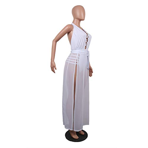 L Halter sin Party Partido Lace Cuello Color Tirantes Ydncmgga Sheer tamaño White Vestido Cintura del Maxi Up V Club 8Oxw1OUq5f