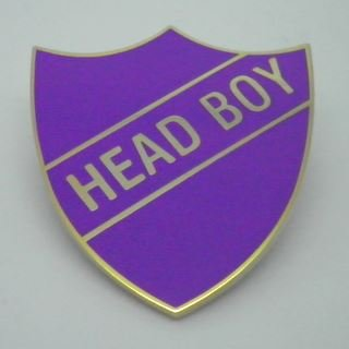 Head Boy Enamel School Shield Badge - Purple - Pack of 5
