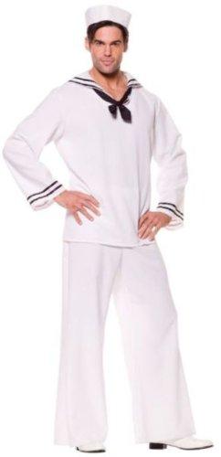 Underwraps Costumes Men's Sailor Costume - Shirt, White/Black, X-Large