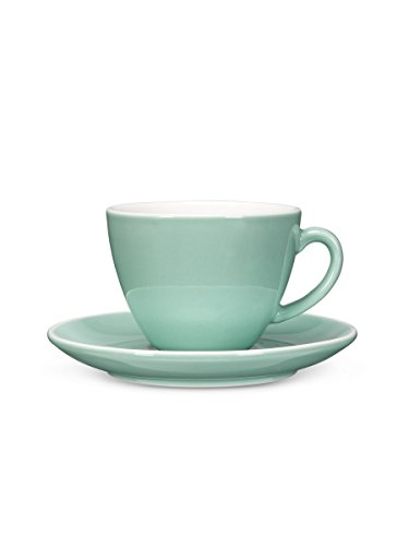 Abbott Collection Avenue Diner Look Porcelain Cappuccino Cup w/ Saucer, Mint