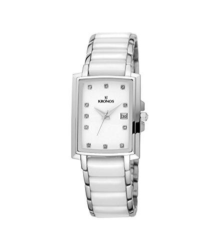 Kronos - Ceramic White 931.8.32 - Reloj de señora de cuarzo, brazalete de
