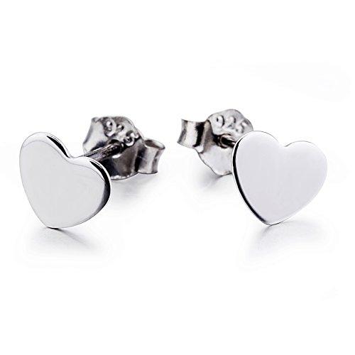 925 Sterling Silver Heart Stud Earrings for Women (Style 2)