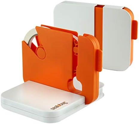 Sealabag Gerät zum Beutelverschließen, flach zusammenklappbar nach Gebrauch, für 9-mm- und 12-mm-Klebeband, inkl. 5 Klebebandrollen, orange