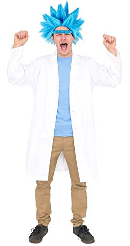Deluxe Ricky Sanchez Wig Eyebrow and Lab Coat Cosplay Costume Set (Adult Standard) (Medium/Large) -