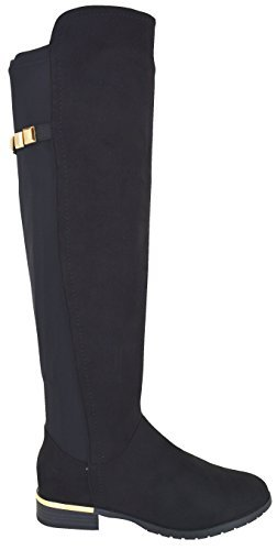 EYESONTOES Womens Ladies Stretch Over The Knee Boots Low Heel Gold Trim Zip Boot Shoe Size 8r1nYZFn