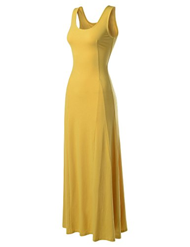 NEARKIN (NKNKWNLD642) Beloved Womens Figure Hugging Sleeveless Maxi Dress MUSTARD US XXS(Tag size XS) (Yellow And Gray Maxi Dress)