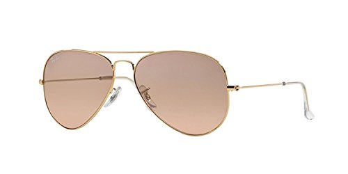 Ray-Ban RB 3025-001/3E Arista Large Metal Aviator Sunglasses with Pink Gold Gradient Mirror Lenses - Mirror Pink Aviator Ray Lens Ban