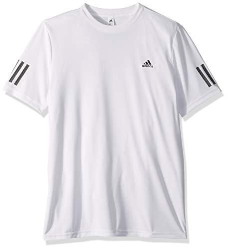adidas Youth Club 3-Stripes Tennis Tee, White/Black, Medium