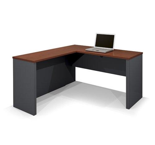 (Prestige Modern L-shaped Corner Computer Desk in Bordeaux & Graphite)