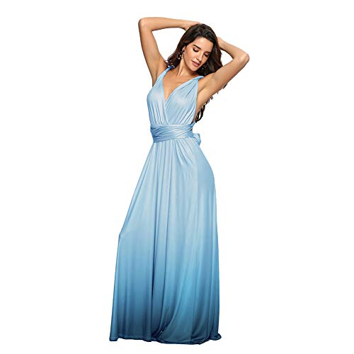 Women Evening Long Maxi Gradient Ombre Dress Convertible Multi-Way Wrap Floor Boho High Elasticity Wedding Party Gown Tiffany Blue S
