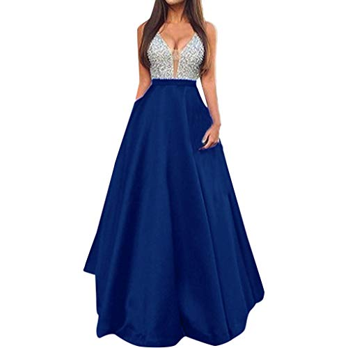 ,Fashion Women Sequined V Neck Sleeveless Wedding Dress Elegant Party Evening Slim Maxi Dresses ()