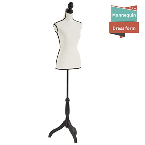 Mannequin Torso Manikin Dress Form Female Dress Model Torso Display Mannequin Body 60-67 Inch Height Adjustable Tripod Stand (Dress Torso Form)