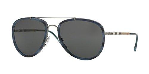 Sunglasses Burberry BE 3090Q 100887 BRUSHED GUNMETAL/BLUE - Blue Sunglasses Burberry