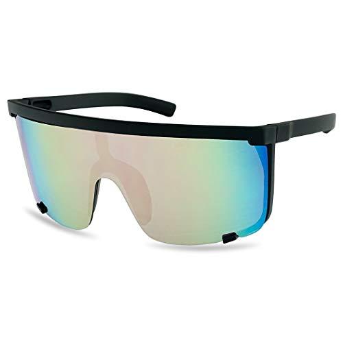 SunglassUP Oversized 150mm Super Shield Mirrored Lens Sunglasses Retro Flat Top Matte Black Frame (Matte Black Frame | ()