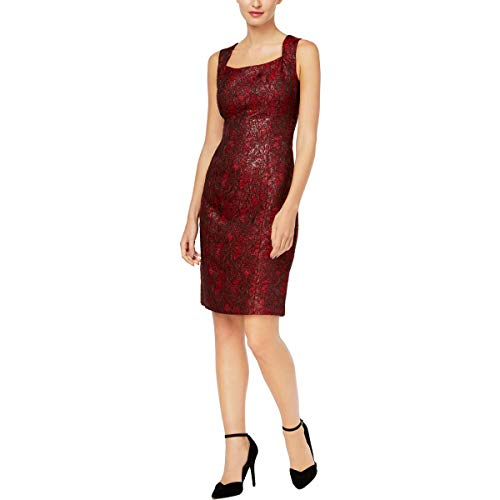 Kasper Women's Printed Jacquard Sheath Dress, fire red/Multi, 6