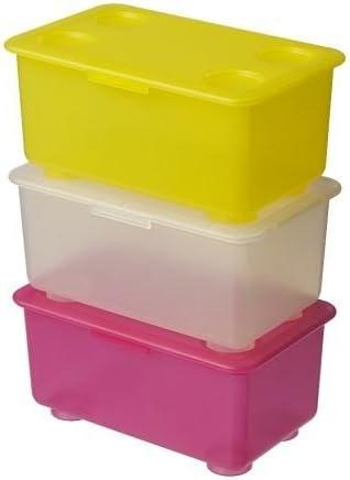 Ikea - Cajas Glis con tapa en amarillo, rosa y blanco, 3 unidades ...