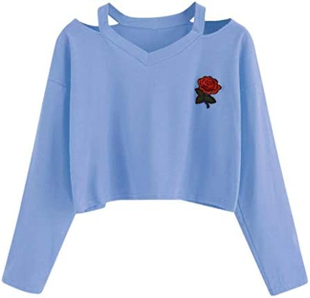 Fanteecy Women's Casual Floral Rose Print Long Sleeve Crop Tops Teen Girls Tops Sweatshirt Blouse Shirts