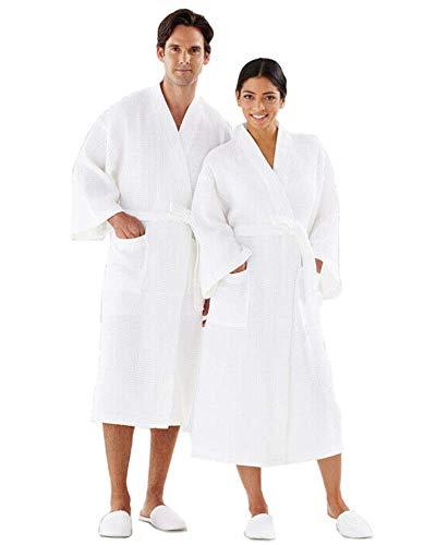 Boca Terry Robe Unisex White Lightweight Waffle Design Kimono Bathrobe 48