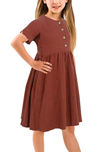 (Gorlya Girl's Short Sleeve Button Up Pleated Waist Loose Casual Linen Midi Dress with Pockets for 4-12 Years Kids (GOR1007, 11-12Y, Brown)