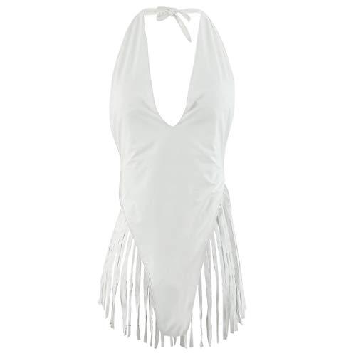 Limsea 2019 Women's Swimwear Beachwear Bathing Suit Piece Tassel Backless Swimsuit Bikini Medium White (Best Swimwear Sites 2019)