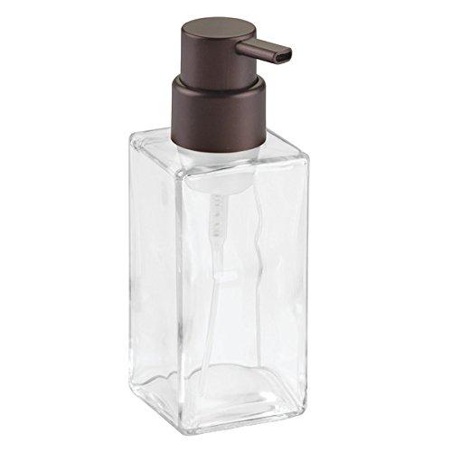 InterDesign Casilla Glass Foaming Soap Dispenser Pump for Kitchen, Bathroom Countertop and Vanities - Clear/Bronze