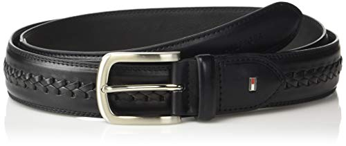 Tommy Hilfiger Men's Ribbon Inlay Belt - Fabric Belt with Single Prong Buckle, black, 30