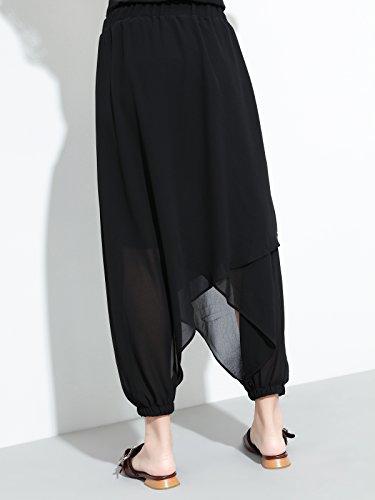 Damen Sommer Chiffon 7/8 Hosenrock Pluderhose in Mode - Schwarz