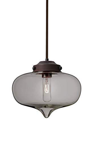Besa Lighting 1TT-MIRASM-BR Mira - One Light Stem Pendant with Flat Canopy, Bronze Finish with Smoke Glass ()