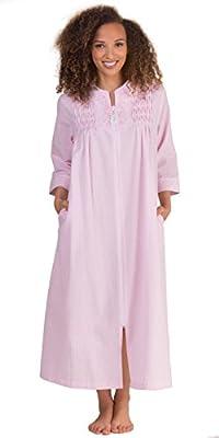 Miss Elaine Women's Seersucker Stripe Long Zip Robe