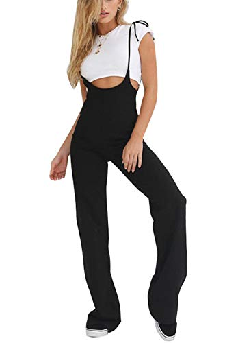 Trousers Cotton Bootcut (doublebabyjoy Womens High Waist Sexy Spaghetti Strap Jumpsuit Bootcut Solid Black Romper Suspender Pants Trousers (Black, M))