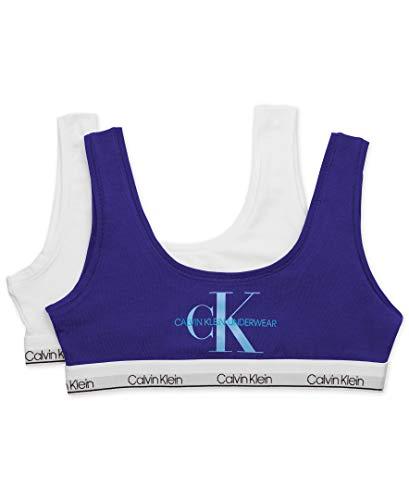 Calvin Klein Big Girls' Modern Cotton Bralette, 2 Pack-Optical Blue, Classic White,Big Girls -Large - 10/12 (Girls Clothes Bra)
