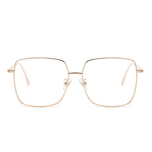 - Fashion Metal Optical Glasses Frame Square Anti Blue Light Computer Glasses Eye Protection Women Gold