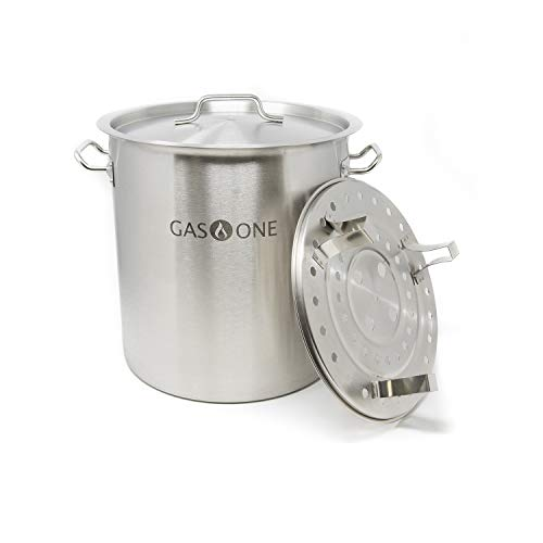 (Gas One Stainless Steel Stock Pot with Steamer 8 Gallon with lid/cover & Steamer Rack, Tamale, Dumpling, Crawfish, Crab Pot/Steamer Thickness 1mm Perfect for Homebrewing & Boiling Sap for Maple Syrup)