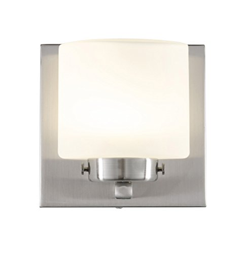 Rogue Decor 611000 Clean 1-Light LED Bath Vanity - Satin Nickel Finish - Etched Opal Glass - Etched One Light