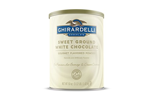 - Ghirardelli Chocolate Sweet Ground White Chocolate Flavor Beverage Mix, 50-Ounce Canister