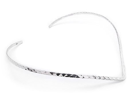 Alpaca Silver Choker Neck V Shape Band Hand Made Collar Hammered Omega Hook