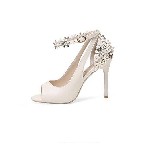 W&LM Sra Tacón alto sandalias Flores Boca de pescado sandalias Esto es bueno piel genuina Tacones altos piel de carnero zapato White