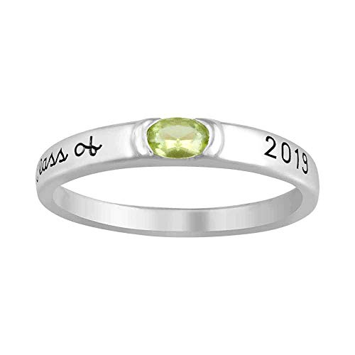 (ArtCarved Moonbeam Simulated Birthstone Class of 2019 Women's Ring, Sterling Silver, Size 9)