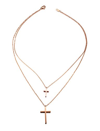 Double Cross Pendant - PJ Jewelry Women's Stainless Steel Rose Gold Plated Two-strand Double Cross Pendant Necklace