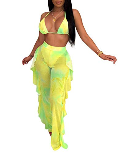 - Two Piece Outfits for Women - Sexy See Through Halter Neck Bra Crop Top Ruffle Long Pants Yellow XL