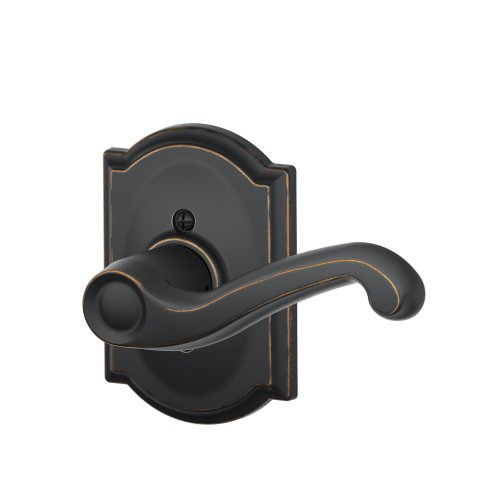 Schlage Lock Company Flair Right Handed Lever with Camelot Trim Non-Turning Lock, Aged Bronze (F170 FLA 716 CAM RH) ()